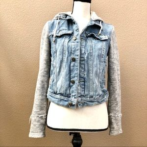 Free people denim jacket hoodie Sz S/P